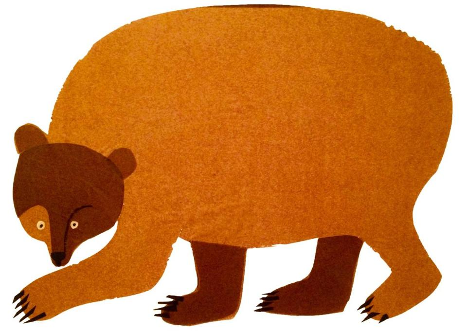 "One of Eric Carle's original collages for ""Brown Bear, Brown Bear, What Do You See?"" at the Eric Carle Museum of Picture Book Art."